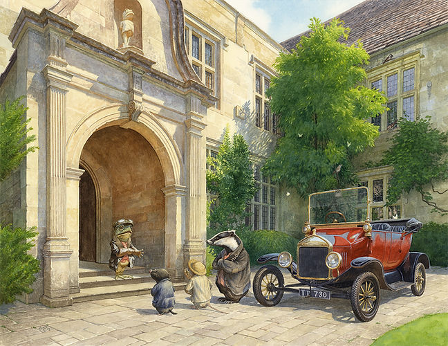 No More Cars, Mr Toad Chris Dunn Illustration Wind In The Willows Ratty Mole Badger