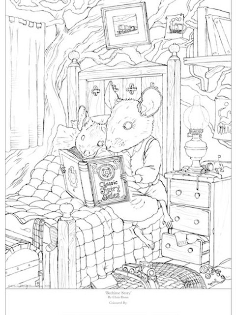 'Bedtime Story' Colouring Sheet