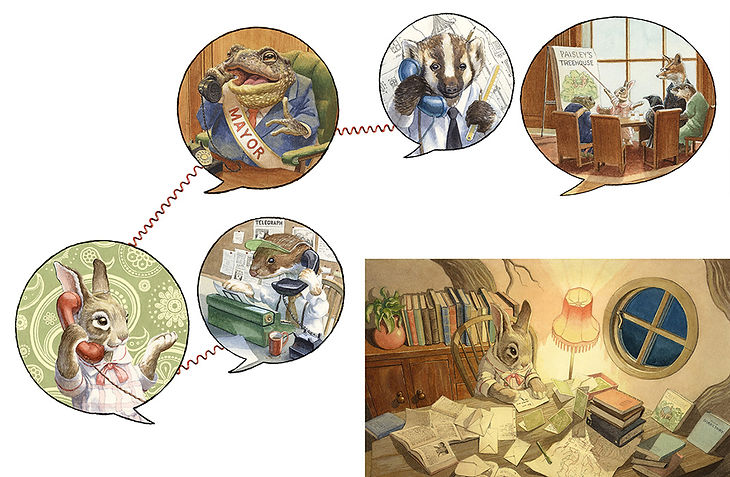 Watercolour illustration by Chris Dunn. Paisley plans the building of her treehouse and gets a team together. Toad Mayor, Stoat journalist, Badger architect. Paisley Rabbit and the Treehouse Contest - written by Steve Richardson, illustrated by Chris Dunn.