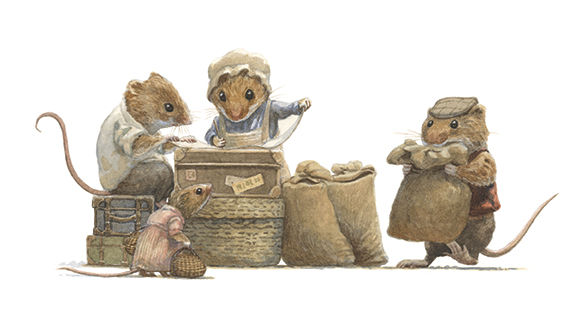 Field and harvest mice prepare for their Winter migration to the city. Sacks of food and suitcases. Illustration by Chris Dunn for 'The Wind In The Willows'. Whimsical animal art.