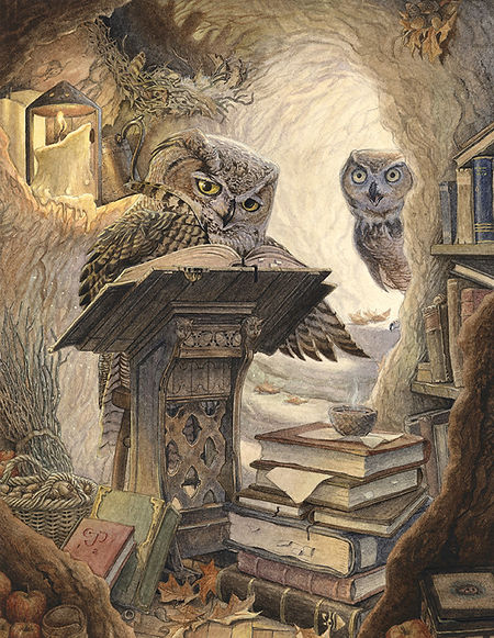 A great horned owl, hard at work in his treetop study. His mate calls from the passageway but he is too engrossed to hear. Autumn Scribe by Chris Dunn Illustration, whimsical animal art.
