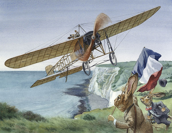 Channel Flight by Chris Dunn Illustration. A Hare flies the Bleriot XI