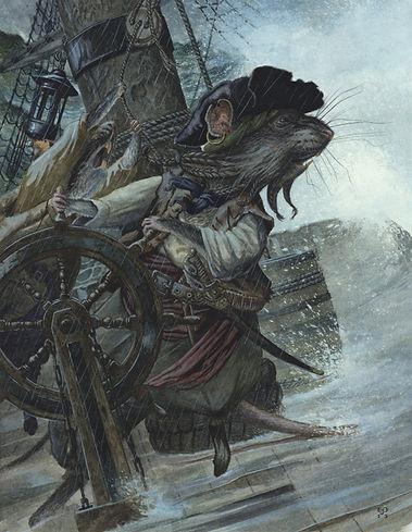 Captain Ratbeard by Chris Dunn Illustration. A Rat pirate captain battles against a sea storm.