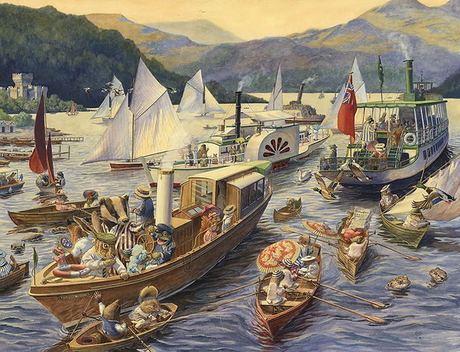 Evening On The Lake by Chris Dunn Illustration. Animals sail boats