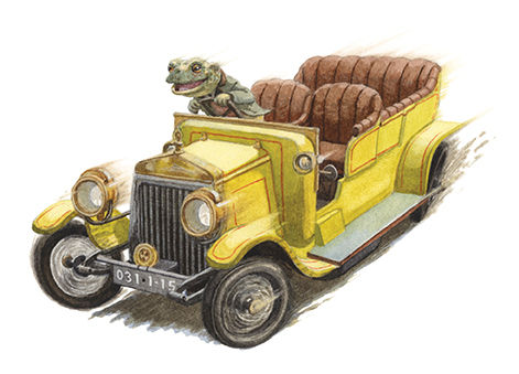 Toad steals a yellow car and drives away at top speed. Illustration by Chris Dunn for 'The Wind In The Willows'. Whimsical animal art.
