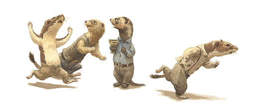 Ferrets, Stoats and Weasels flee in horror from their assailants. Illustration by Chris Dunn for 'The Wind In The Willows'. Whimsical animal art.