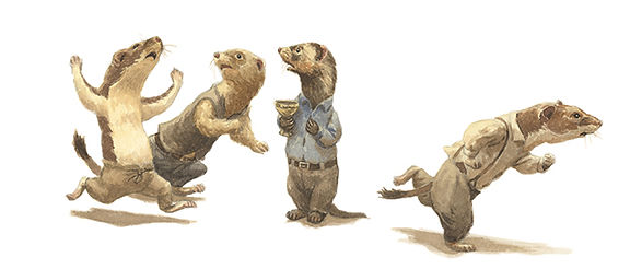 Fleeing stoat weasel ferret wind in the willows Chris Dunn illustration