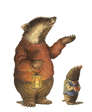 Mr Badger shows mole the exteent of his huge underground home. Illustration by Chris Dunn for 'The Wind In The Willows'. Whimsical animal art.