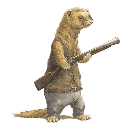 A cheeky ferret with a gun stands guard. Illustration by Chris Dunn for 'The Wind In The Willows'. Whimsical animal art.