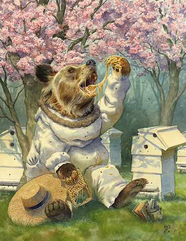 Beekeepr by Chris Dunn Illustration. A grizzly bear eats honey from his apiary.