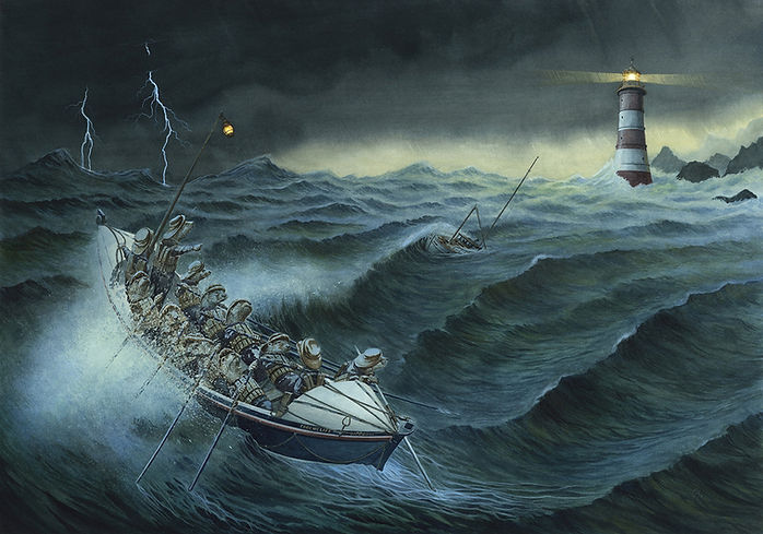 Rescue From The Storm by Chris Dunn Illustration. Otters in a lifeboat on a stormy sea.