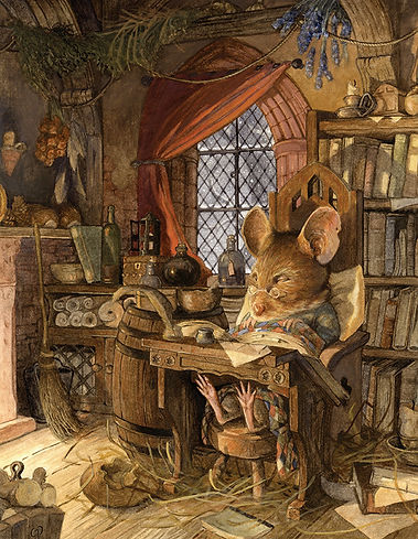 The original painting was a homage to Brian Jacques, the author of Redwall Abbey, a highly entertaining and vast series of children's books. The mouse is Brian as one of his characters possibly in the middle of writing another cracking story but due to his old age and comfortable chair he has drifted off to sleep. Even though it snows outside, Brian is kept warm and dry by the glow of the fire just out of shot. Chris Dunn Illustration, whimsical animal art.