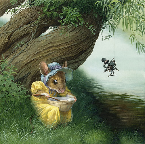 Little Miss Muffet Chris Dunn Illustration Mouse Spider Nursery Rhyme