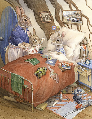 Watercolour illustration by Chris Dunn. Paisley rabbit talks to her brother Peter and her mother. Paisley Rabbit and the Treehouse Contest - written by Steve Richardson, illustrated by Chris Dunn.