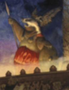 Valkyrie by Chris Dunn Illustration. Opera singer badger.