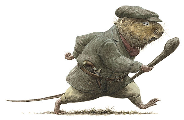 Ratty is prepared with his guns and cudgel as he strides to the Wild Wood to find his friend, Mole. Illustration by Chris Dunn for 'The Wind In The Willows'. Whimsical animal art.