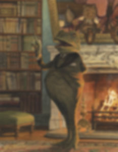 The Orator by Chris Dunn Illustration. Toad gives a speech by the fire.