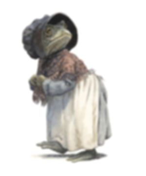 Toad, disguised as a washerwoman, escapes prison. Illustration by Chris Dunn for 'The Wind In The Willows'. Whimsical animal art.