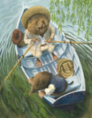 Ratty takes Mole out on the river for the first time. From The Wind In The Willows. Boat watervole river messing about mole