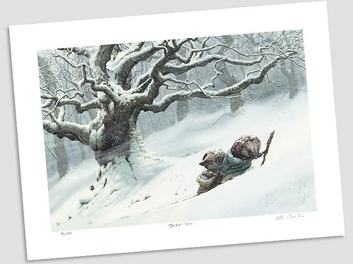 'Pushing Through The Snow' Signed Limited Print