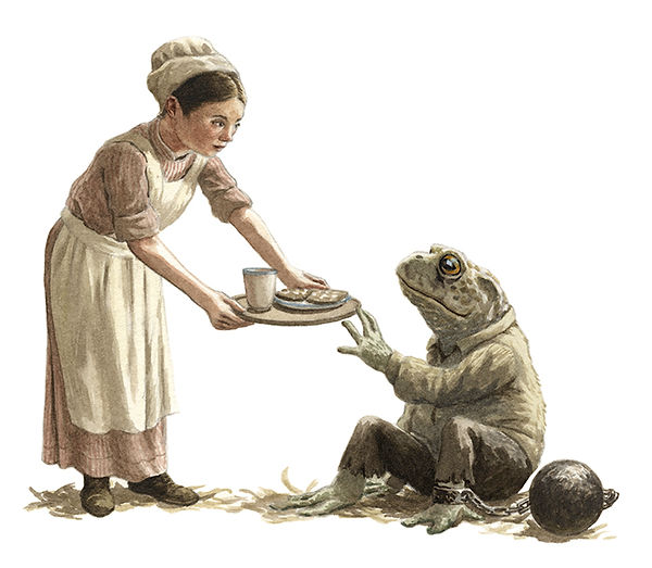 The gaoler's daughter offers some toast to a downcast Mr Toad. Illustration by Chris Dunn for 'The Wind In The Willows'. Whimsical animal art.
