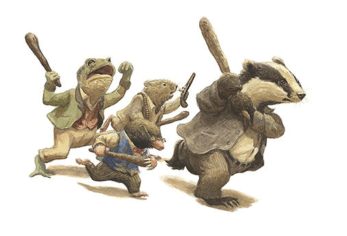Armed with sticks and guns, Badger, Ratty, Mole and Toad make their assault on Toad Hall's intruders. Illustration by Chris Dunn for 'The Wind In The Willows'. Whimsical animal art.