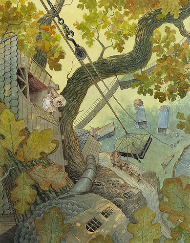 A grand piano is delivered to the newly completed treehouse. Paisley Rabbit and the Treehouse Contest - written by Steve Richardson, illustrated by Chris Dunn.