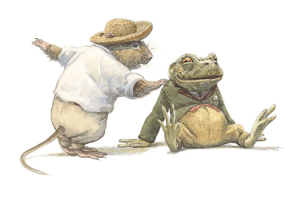 Ratty tries to get Toad's attention but Toad is transfixed by a passing car. Illustration by Chris Dunn for 'The Wind In The Willows'. Whimsical animal art.