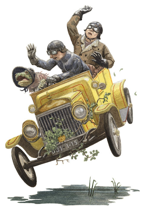 Toad takes the wheel of a car, crashes through a hedge and into a horsepond.  Illustration by Chris Dunn for 'The Wind In The Willows'. Whimsical animal art.