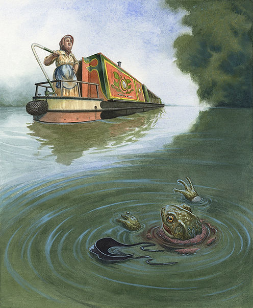 Toad's cover as a washerwoman is blown, so the bargewoman throws him into the canal. Illustration by Chris Dunn for 'The Wind In The Willows'. Whimsical animal art.