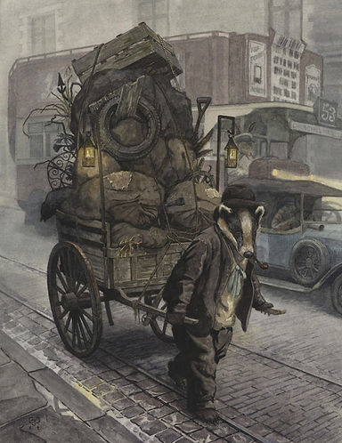 Rag and Bone by Chris Dunn Illustration. Badger with cart on London streets.