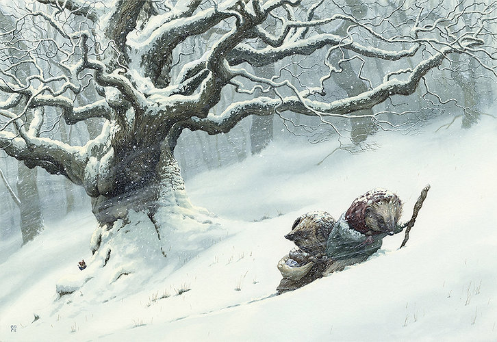Pushing Through The Snow by Chris Dunn Illustation. Two hedgehogs walk through the woods.