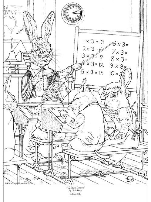 'A Maths Lesson' Colouring Sheet
