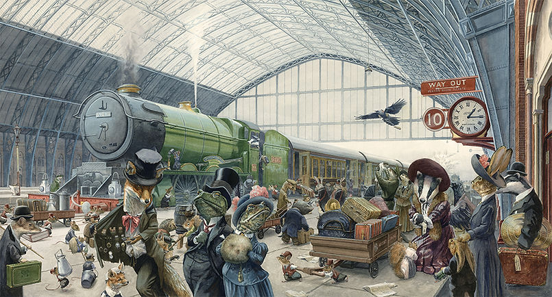 A Quarter Past One On Platform Ten by Chris Dunn Illustraion. Animals bustle aroud the railway station, transporting their luggage and boarding the train.