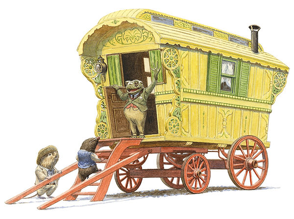 Toad shows off his new gypsy caravan to Mole and Ratty. Illustration by Chris Dunn for 'The Wind In The Willows'. Whimsical animal art.