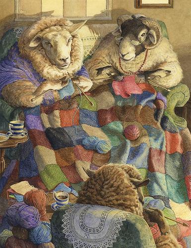 Knitting Circle by Chris Dunn Illustratio. Sheep knit a wool blanket