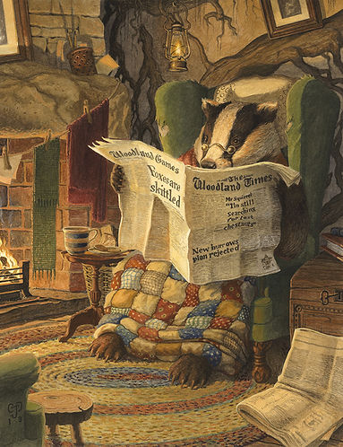 Settling In by Chris Dunn Illustration. Badger reads a newspaper by the fire.