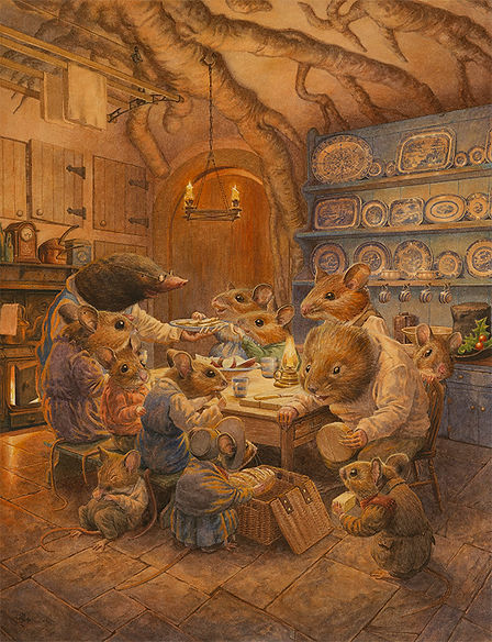 Supper Arrives Chris Dunn Illustration Watercolour Mice Ratty Mole Wind In The Willows