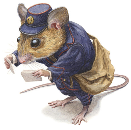 A mouse working for the postal service is reading envelope addresses