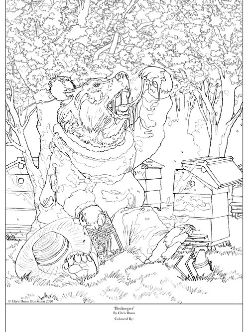 'Beekeeper' Colouring Sheet