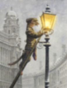Lamplighter by Chris Dunn Illustration. Weasel lights London street lamps in the snow.