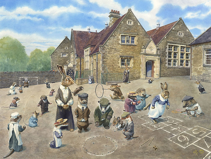 School Playground by Chris Dunn Illustration. Young otters, hares, hedgehogs, mice, rabbits, moles and badgers play at school