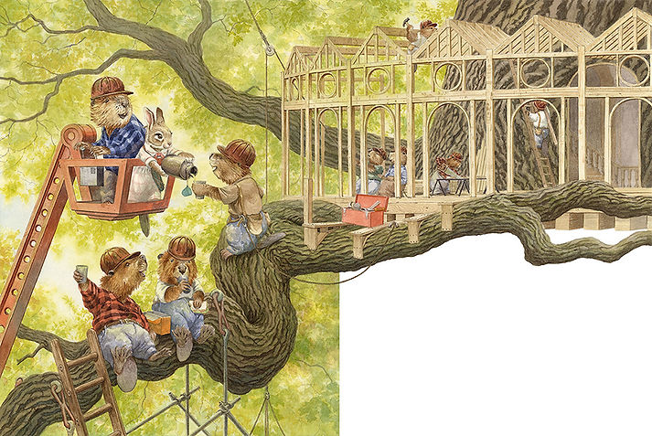 Mr Beaver shows Paisley the treehouse construction site in a big oak tree. Paisley Rabbit and the Treehouse Contest - written by Steve Richardson, illustrated by Chris Dunn.