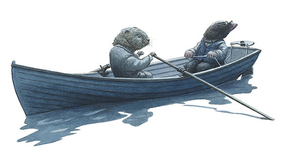 Ratty and Mole in the boat searching in the moonlight for the young otter Portly.  Illustration by Chris Dunn for 'The Wind In The Willows'. Whimsical animal art.