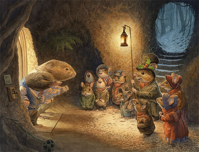 Carol Singing Mice Chris Dunn Illustration Wind In The Willows Ratty Mole Art Watercolour