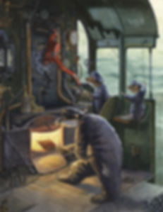 On The Footplate by Chris Dunn Illustration. A badger, stoat and mouse drive a steam engine.