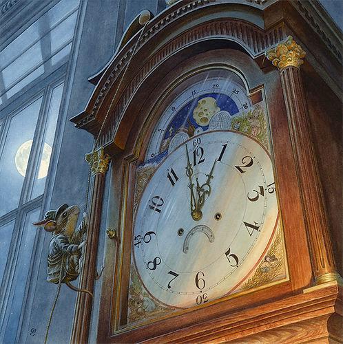 Hickory Dickory Dock Nursery Rhyme Chris Dunn Illustration Mouse Clock Moon