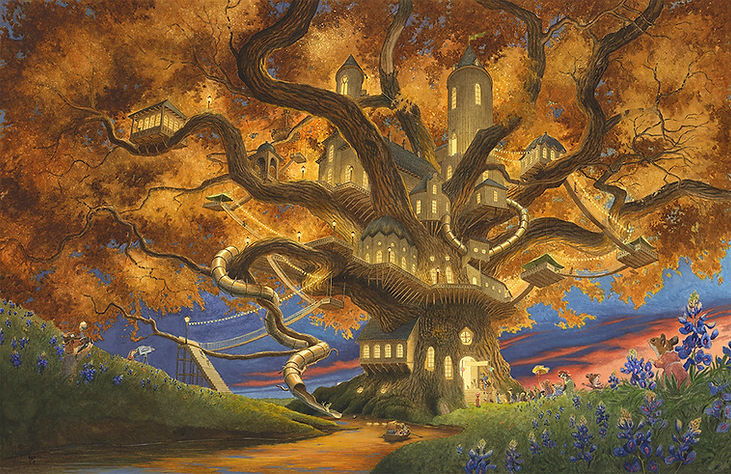 Spectacular treehouse in a late Autumn evening. Mice, badgers, otters and other animals queue up to see inside. Paisley Rabbit and the Treehouse Contest - written by Steve Richardson, illustrated by Chris Dunn.