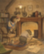 Mole and ratty clean and prepare mole's forgotten house. Ratty builds a fire in the fireplace and mole does some dusting. Illustration by Chris Dunn for 'The Wind In The Willows'. Whimsical animal art.