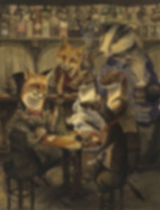 The Card Game by Chris Dunn Illustration. Fox, rat and stoats play cards in a pub. Watched by badger and vixen.